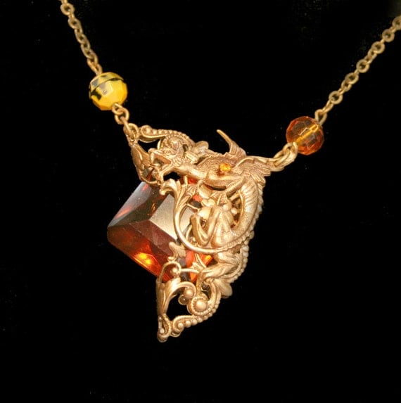 Gothic Necklace Amber Vintage Dragon Necklace Victorian Style