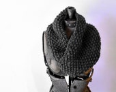 Mobius Scarf Chunky Knitted Neck Cowl-  Charcoal Grey merino wool, extra soft and bulky