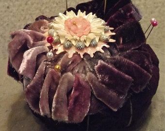 Vintage Velvet Picushion With Vintage Embellishments