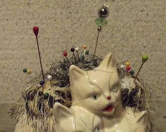 Vintage Three Little Kittens Pincushion