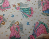 VIP Cranston Print Works --Pink Angel Fabric - Gold highlights - Christmas - 6 yards