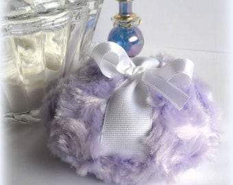 Lavender Powder Puff - soft lilac bath pouf - pastel purple and white - 4 inch - gift boxed by Bonny Bubbles