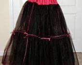 Three Layer Goth Black and Red Crinoline Petticoat for Full Ballgowns, Three layers, Custom