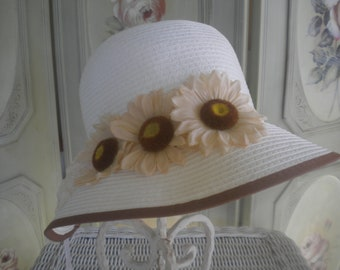 White cloche or bucket style hat - Women's white hat -Sunflower hats - Brim hat - Women's hats