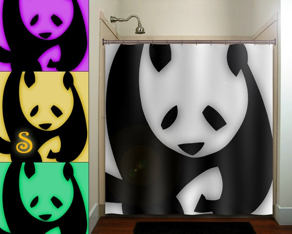 Personalized giant bear panda shower curtain bathroom decor for Panda bear decor