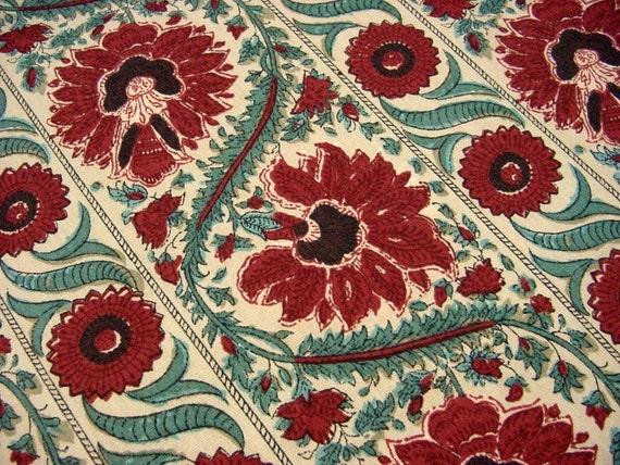 "Gorgeous Schumacher Waverly Drapery Fabric - ""MALABAR"" Old Sturbridge Village -Red Teal Floral Stripe -BTY"