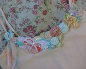 Fleur French Ribbon Work and Rolled Rose Ballerina Pink Cami with Sequins and Glass Bead Work