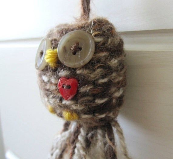 Soft Wooly Knit Owl Decoration- Christmas or Valentine Ornament