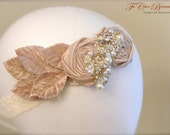 Hand-Beaded Crystal Bridal Bandeau - Silk Rosettes in Vintage Pink- All That Glitz