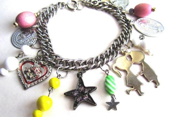 Colorful Retro Mix Vintage Charm Bracelet - Silver Bracelet Chain