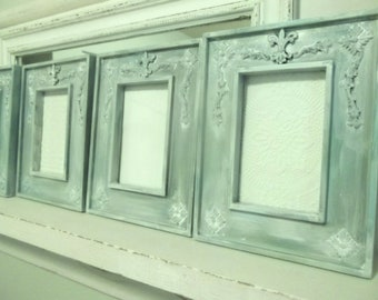 Set of 4 Frames, aqua, teal, blue / green, white washed home decor. Tawnystreasures