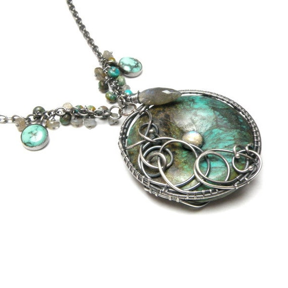 Reservation Silver wire wrapped necklace with turquoise , labradorite and chysocolla