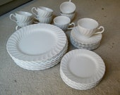 White Ironstone Dinnerware / Johnson Brothers / England / Service For Eight