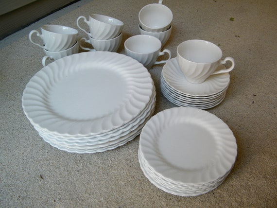 White Ironstone Dinnerware / Johnson Brothers / England / Service For Eight