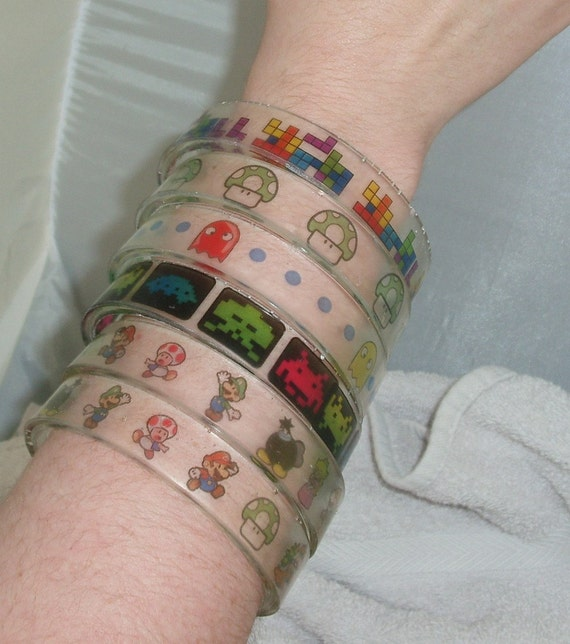 Assorted Video Games BANGLE BRACELET Seconds, Super Mario Brothers, Tetris, Pacman, Space Invaders