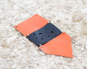 Orange and black  leather geometric necklace, Ethnic necklace, arrow necklace, boho tribal necklace, gift for her