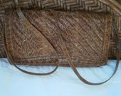 Vintage Authentic Snakeskin Clutch Purse/Shouder Bag with Suede Lining
