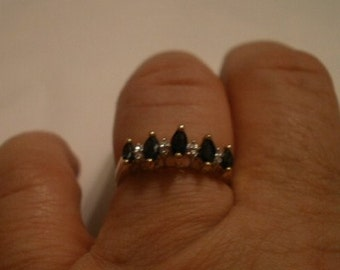 Vintage Sapphire and Diamond 14K ring size 7 FREE SHIPPING