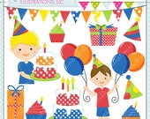 Birthday Boy Cute Digital Clipart for Commercial or Personal Use, Boy Birthday Clipart, Boy Birthday Graphics