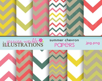 Summer Chevron Cute Digital Papers for Card Design, Scrapbooking, and Web Design