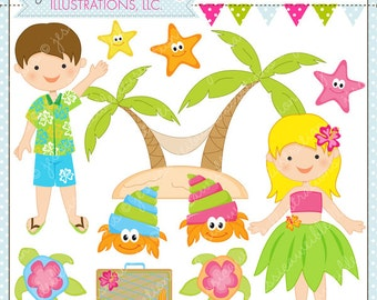 Tropical Trip Cute Digital Clipart for Commercial or Personal Use, Vacation Clipart, Tropical Hula Graphics