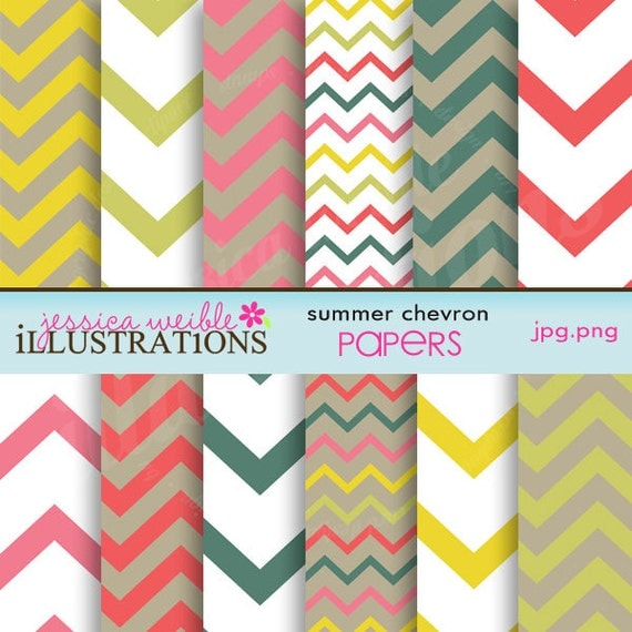 Summer chevron cute digital papers for card design for Cute designs for paper