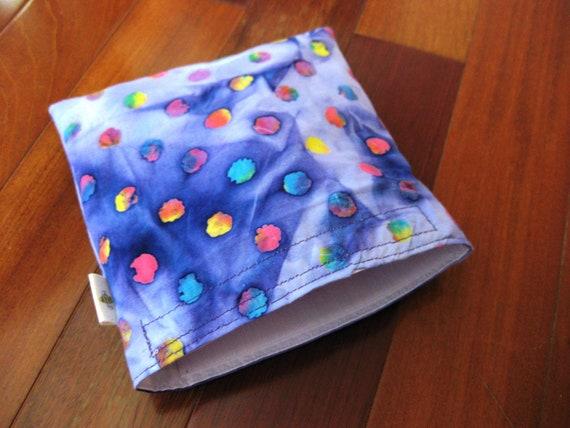 Large Batik Dots Reusable Snack Sandwich Baggie Bag Set with water resistant lining