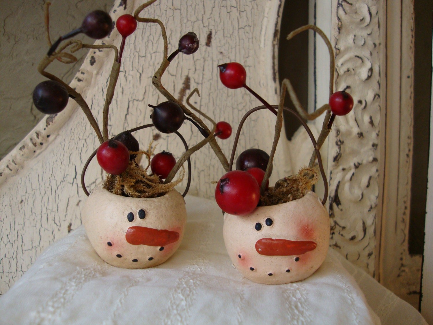 Country Table Decorations Snowman Table Decor Primitive Country Mini Berry Trees