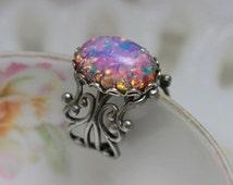 Opal Ring , Vintage Harlequin Glass , Antique Silver Filigree Adjustable Statement Ring