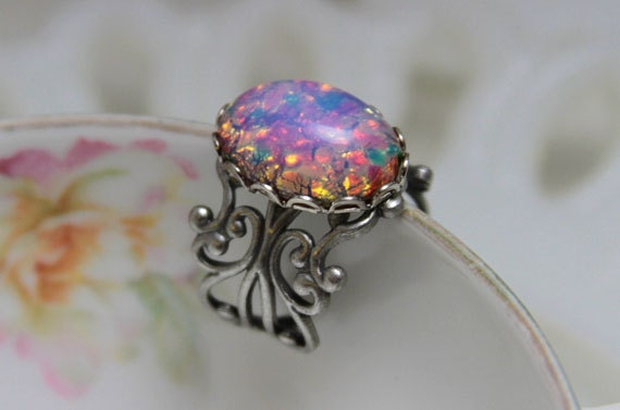 items similar to pink opal ring vintage harlequin glass