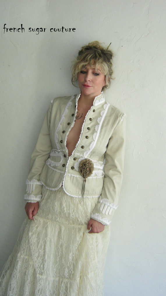 On HOLF for Jennifer - French Sugar Parisian Steampunk White and Cream Jacket with Brass Embellishments and Brooch