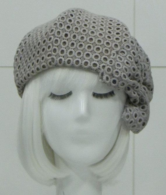 Beret Hat- Grey Eyelet Lace with Bow