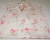 Floral print, upcycled woman's blouse, clothes pin bag, storage bag