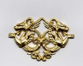 NEW Double Gothic Victorian Rennaisance Dragon Brass Metal Stamping