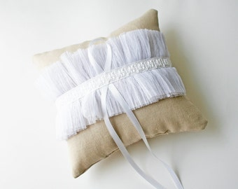 Ring Pillow, Sample Sale, Tulle Pillow, Wedding Pillow