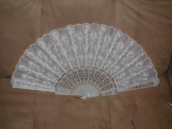 Vintage White Folding Fan with Embroidery
