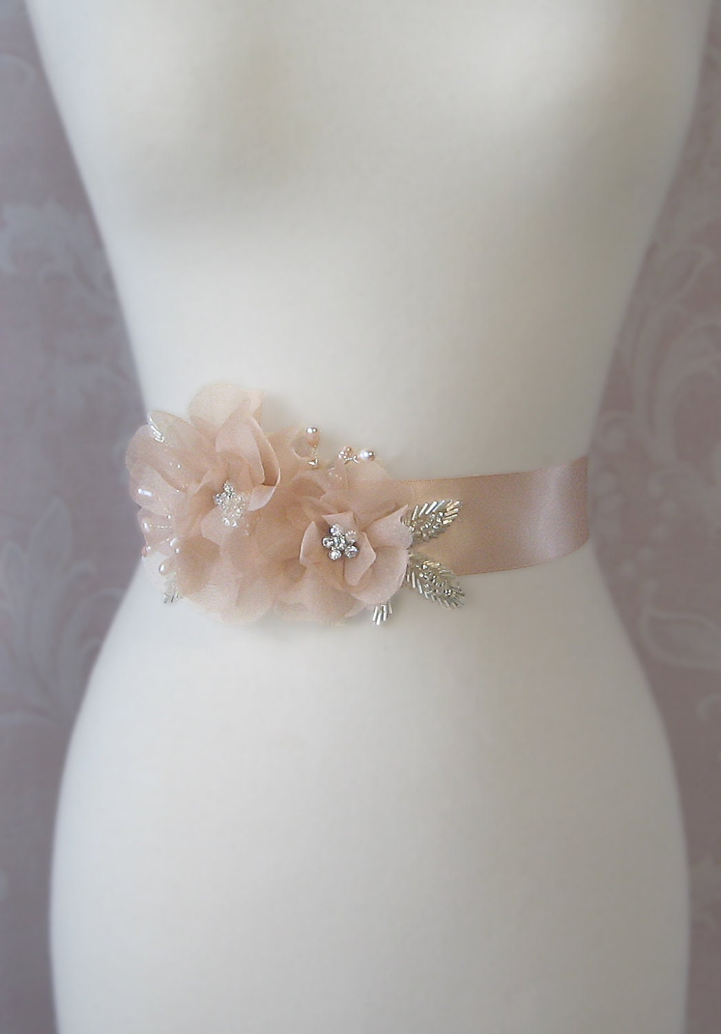 Peach Sash Peach Blush Bridal Sash Wedding Belt Rhinestone