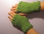 Green or Pick Your Color Hand Knit Fingerless Gloves - Green Hand Knit Fingerless Gloves