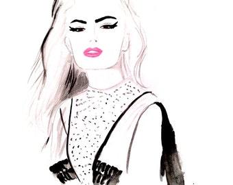 Watercolour fashion illustration Titled Wild