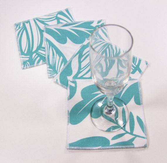 White and Blue Cocktail Napkins or Coasters on a set of six. Crisp white cotton with aqua blue floral print.