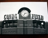 Colorado Rockies Baseball Stadium - Coors Field in Denver, Colorado - 18 x 12 Black and White Fine Art Photography Print Canvas Gallery Wrap