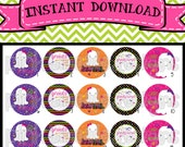 """Bootiful - cute ghosts and sayings for Halloween - INSTANT DOWNLOAD 1"""" Bottle Cap Images 4x6 - 468"""