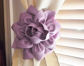 ONE Dahlia Flower Curtain Tie Backs Curtain Tiebacks Curtain Holdback -Drapery Tieback- Baby Nursery Decor -Lilac Decor