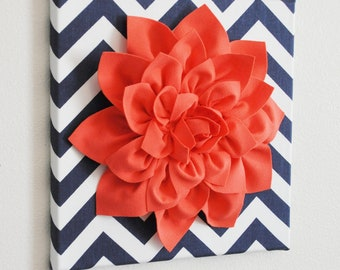 "Wall Flower Art -Coral Dahlia on Navy and White Chevron 12 x12"" Canvas Wall Art- 3D Felt Flower"