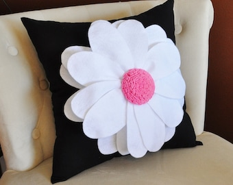 Home Decor Pillows - White Daisy Flower on Black Pillow  -NEW BEDBUGGS DESIGN -Pick your Colors-