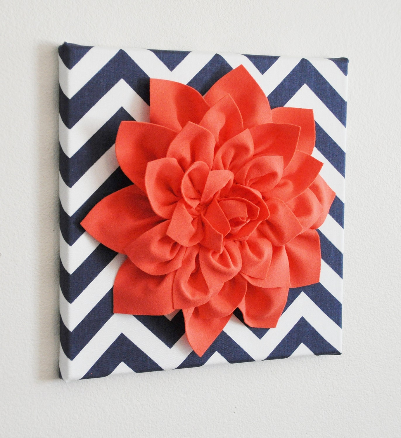 Wall Flower Art Coral Dahlia On Navy And White Chevron 12