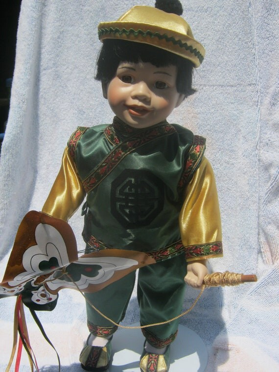Chinese boy doll, vintage porcelain doll with kite, collectible asian doll