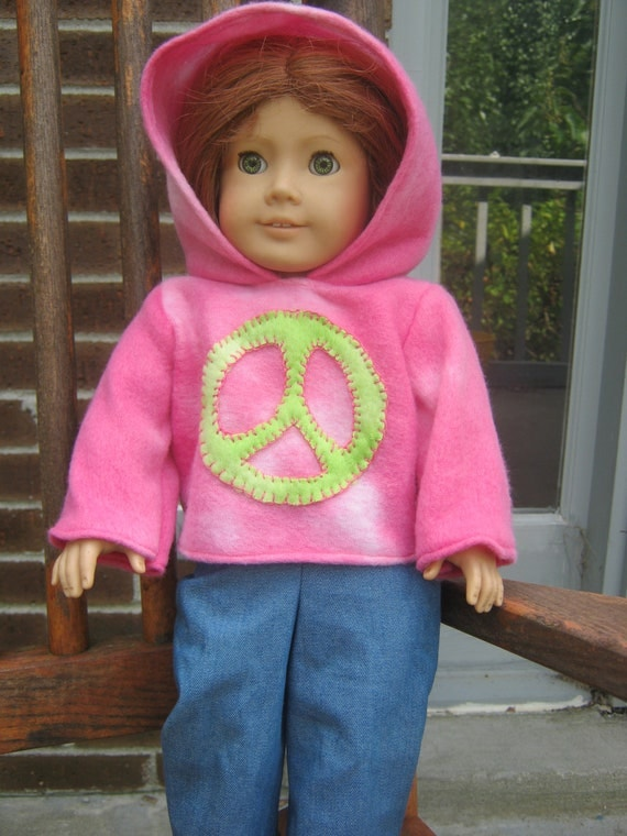 American Girl Clothes, Jeans and Hoodie, pink with lime green peace sign