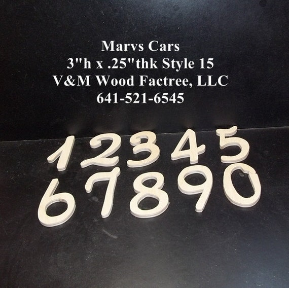 Unfinished Wood Wedding Table Numbers Style 15 Stk No TN-15-.25-3-20