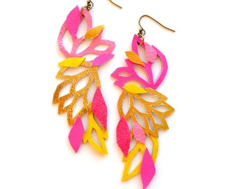 Neon Leather Earrings, Color Block Geometric Earrings, Hot Pink Earrings, Gold Earrings, Lace Floral and Leaves - Statement Earrings